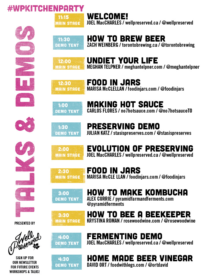 schedule of speakers for todays kitchen party wellpreserved
